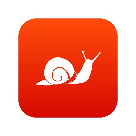 Snail icon digital red for any design isolated on white vector illustration Ilustracja