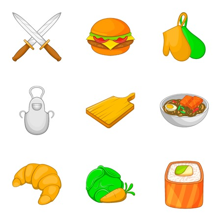 Fun picnic icons set, cartoon style Illustration