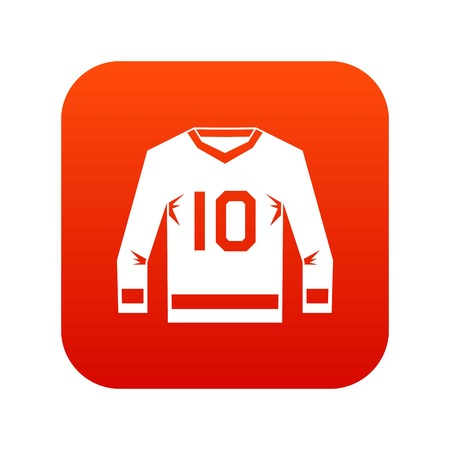 Hockey jersey icon digital red for any design isolated on white vector illustration