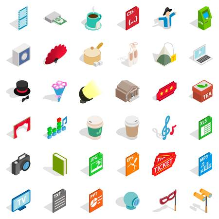 Sound technician icons set, isometric style