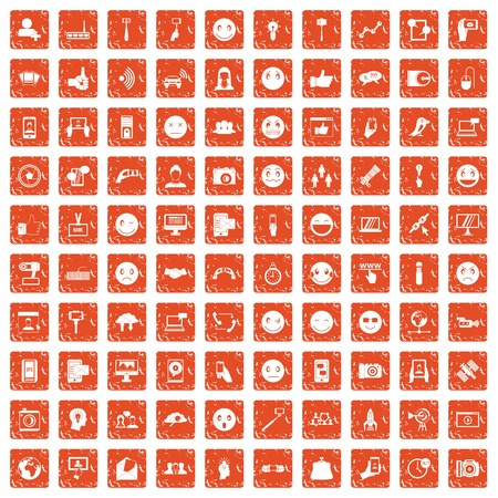 100 social media icons set in grunge orange color