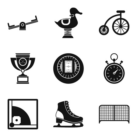 Game place icons set, simple style