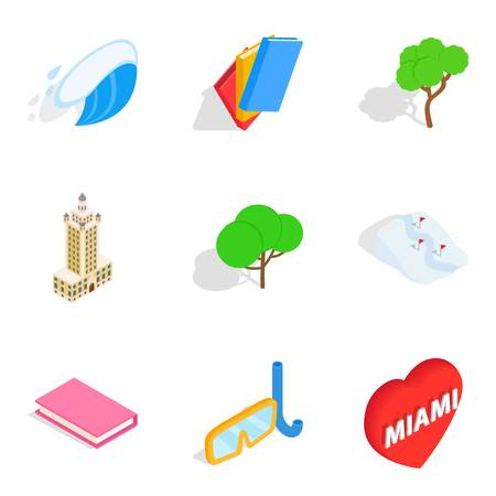 Funny place icons set, isometric style