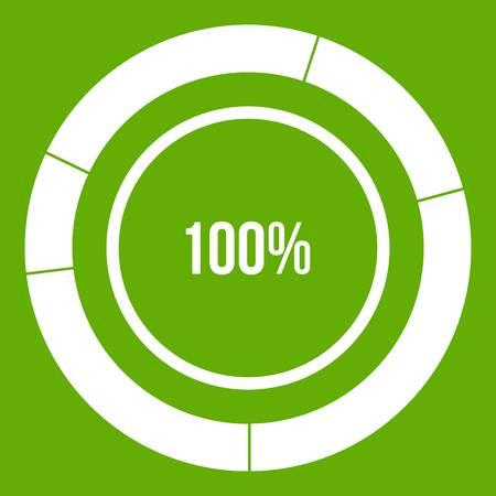 Diagram pie chart icon green Illustration