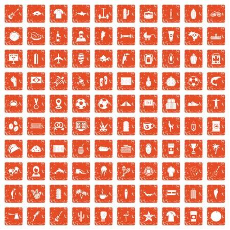 100 South America icons set in grunge orange color 일러스트