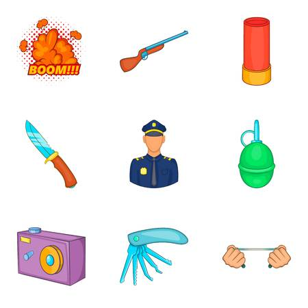 Home guard icons set, cartoon style