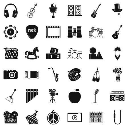 Ensemble d'icônes de formation musicale, style simple Banque d'images - 95524632