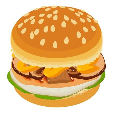 Tasty burger icon, isometric style Illustration