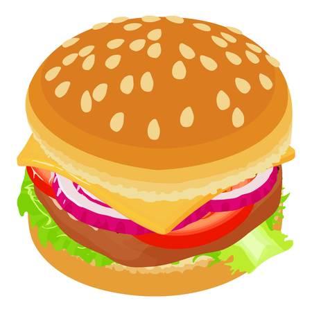Big burger icon, isometric style