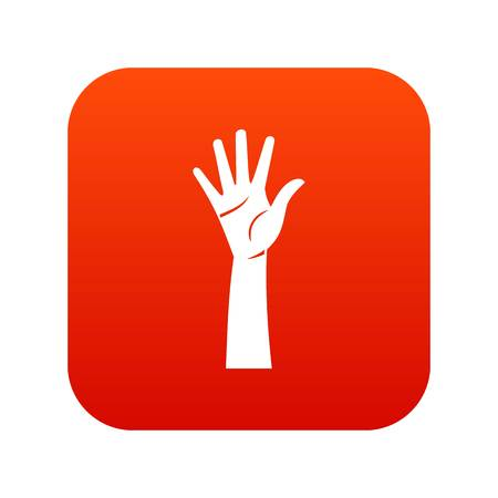 Digital red hand icon