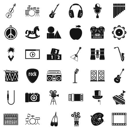 Ensemble d'icônes de comédie musicale, style simple Banque d'images - 95443518