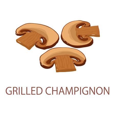 Grilled champignon icon, isometric style
