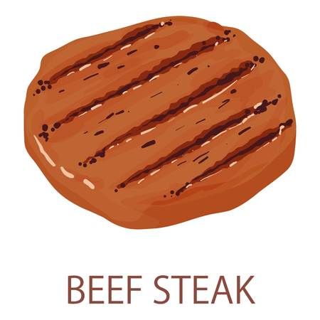 Beef steak icon, isometric style