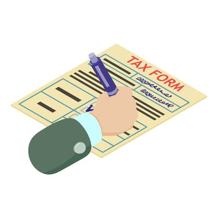 Tax form icon, isometric style