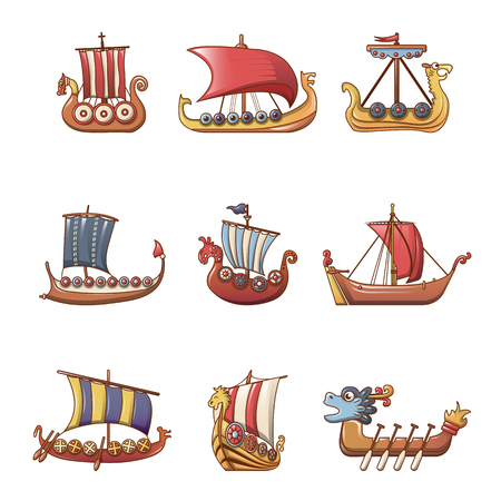 Viking ship boat drakkar icons set, cartoon style