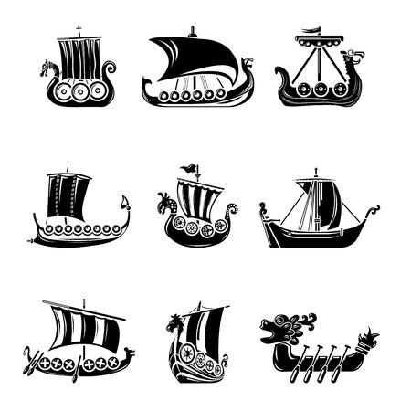 Wikinger Schiff Boot Drakkar Icons Set, einfachen Stil