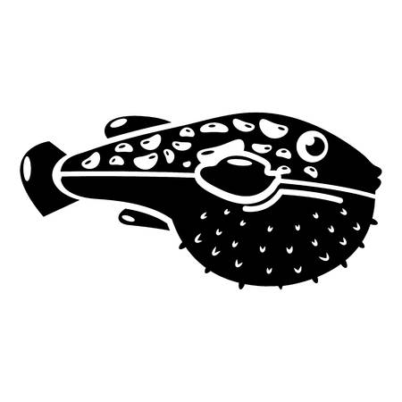 Poison fish icon, simple style