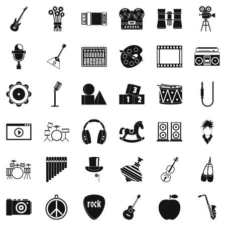 Vaudeville icons set, simple style Illustration
