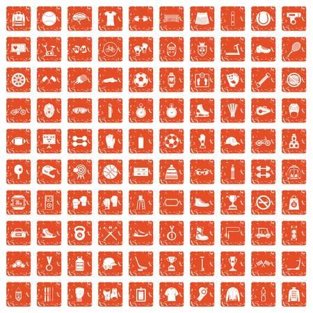100 sport accessories icons set grunge orange