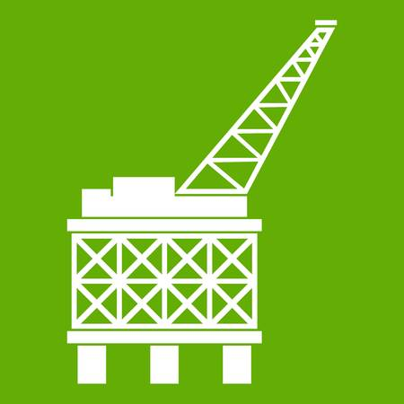 Oil platform icon white isolated on green background. Vector illustration