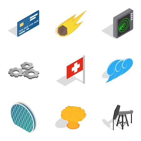 Clean energy icons set, isometric style