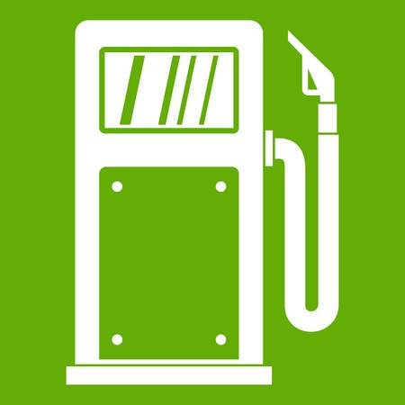 Gasoline pump icon white isolated on green background. Vector illustration Illustration