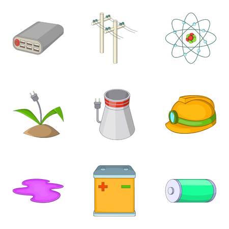 Pure energy icons set, cartoon style Illustration