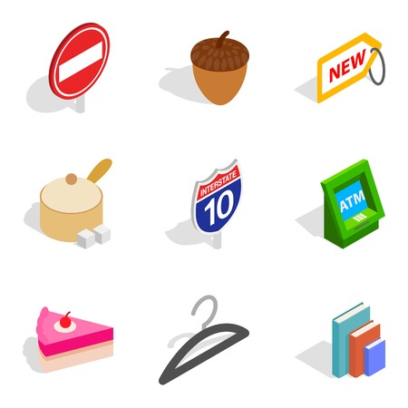 Morning business icons set like hanger, pie and atm, isometric style