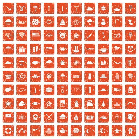 100 star icons set in grunge style orange color isolated on white background vector illustration Vettoriali