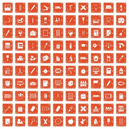 100 stationery icons set grunge orange Illusztráció