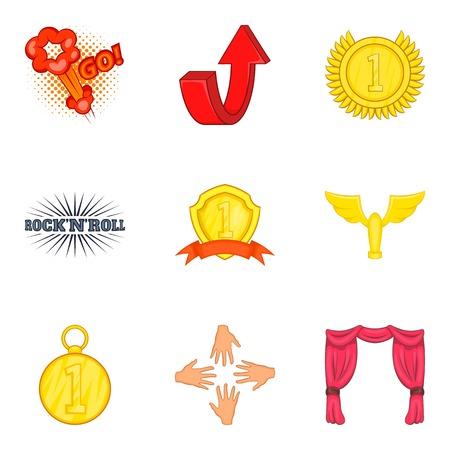 Prosperous icons set. Cartoon set of 9 prosperous vector icons for web isolated on white background Ilustrace