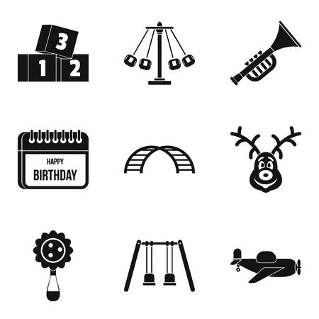 Preschool education icons set like swing , airplane and trumpet , simple style