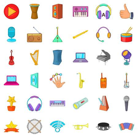 Music party icons set. Cartoon style