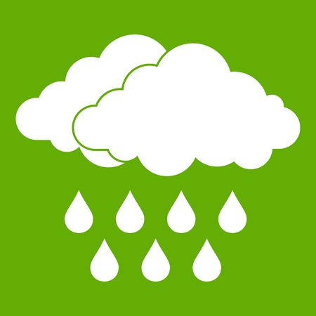 Cloud icon green isolated on green background.