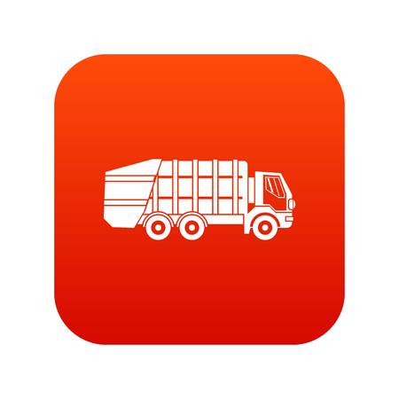 Garbage truck icon digital red