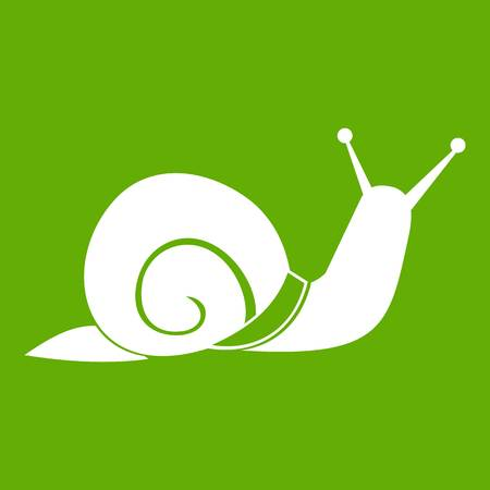 Snail icon white isolated on green background. Vector illustration