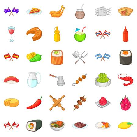 National dishes icons set, cartoon style