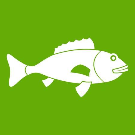 Fish icon on green background Çizim