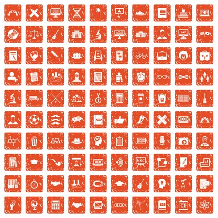100 student icons set grunge orange