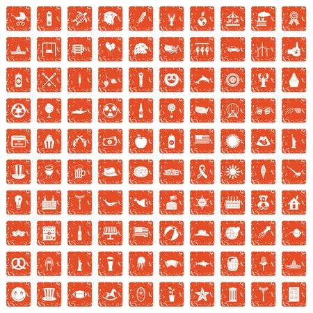 100 summer holidays icons set grunge orange