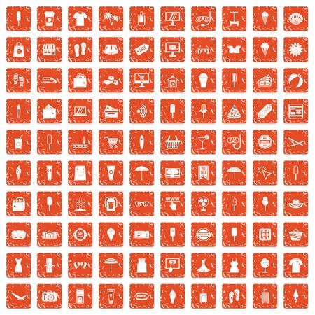 100 summer shopping icons set grunge orange