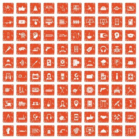100 support icons set grunge orange