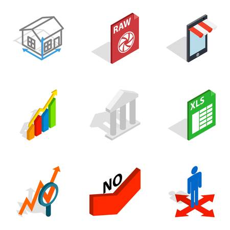 Compile the project icons set,like house, chart and bulding isometric style