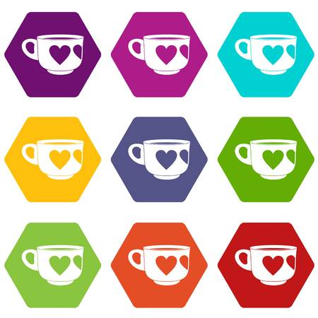 Cup icon set many color hexahedron isolated on white vector illustration