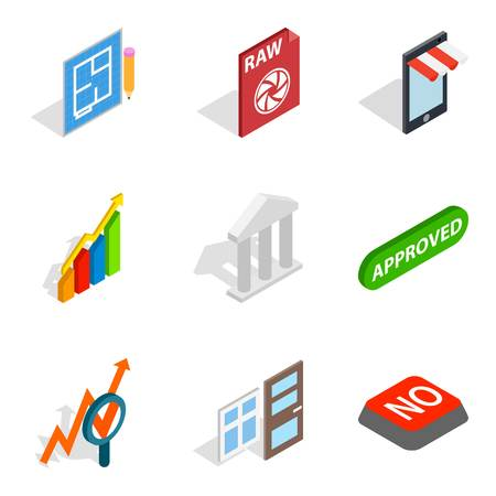Project director icons set. Isometric set of 9 project director vector icons for web isolated on white background