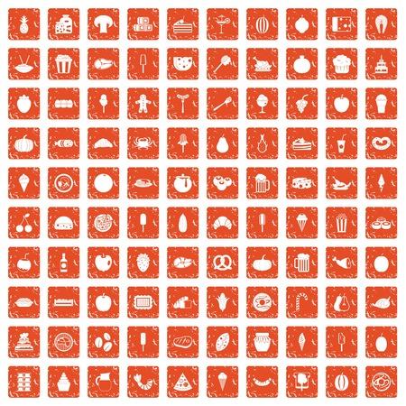 100 tasty food icons set grunge orange