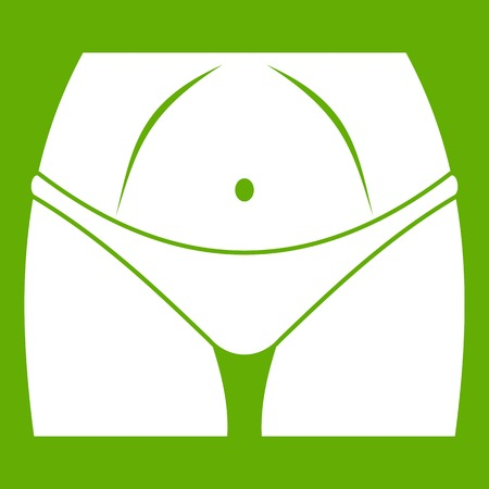 Slim woman body in panties icon on green background Illustration
