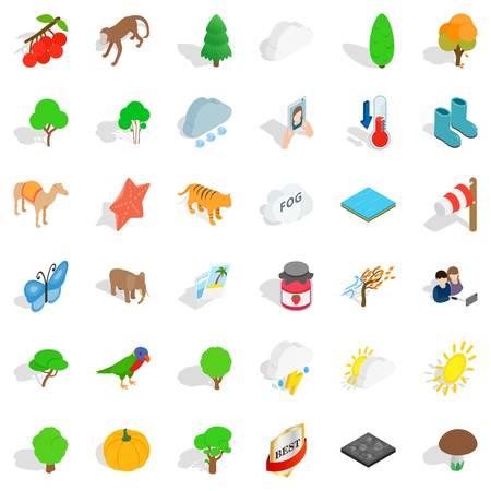 Topography icons set