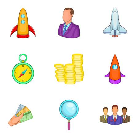 Project start icons set. Cartoon set like rocket, man, and clock. Set of 9 project start vector icons for web isolated on white background