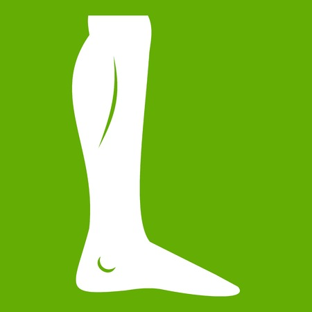 Human leg icon green isolated on green background.